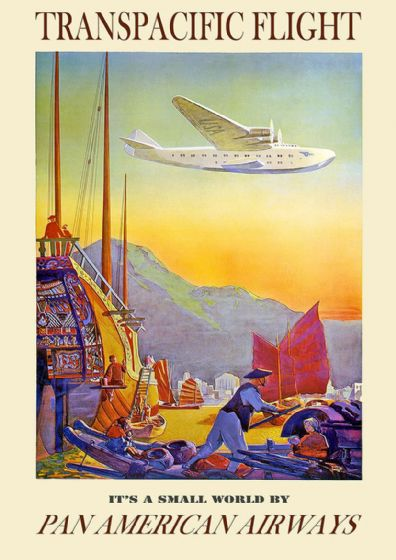 Transpacific Flight, Pan American Airways. Vintage Travel Print/Poster. Sizes: A4/A3/A2/A1 (002707)
